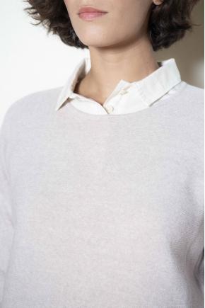Pull ras de cou maille linx traitée cashwool 100% laine vierge mérinos