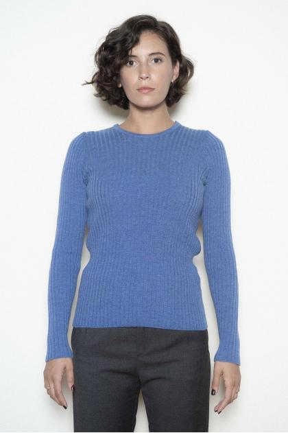 Pull ras de cou maille chaussette traitée cashwool 100 % laine vierge mérinos