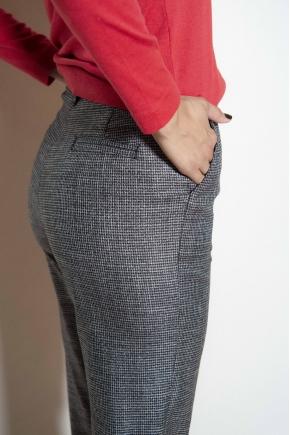 Pantalon midi sergé pied de poule 50% viscose 48% polyester 2% élasthanne