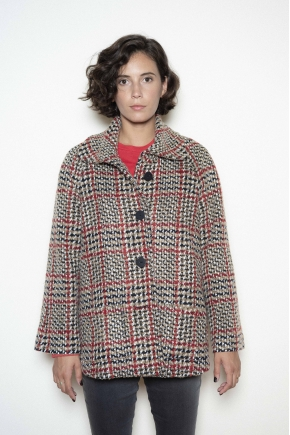 Check wool cape jacket 38% cotton 28% acrylic 17% polyester 9% virgin wool 3% polyamide 3% other fibers 2% viscose