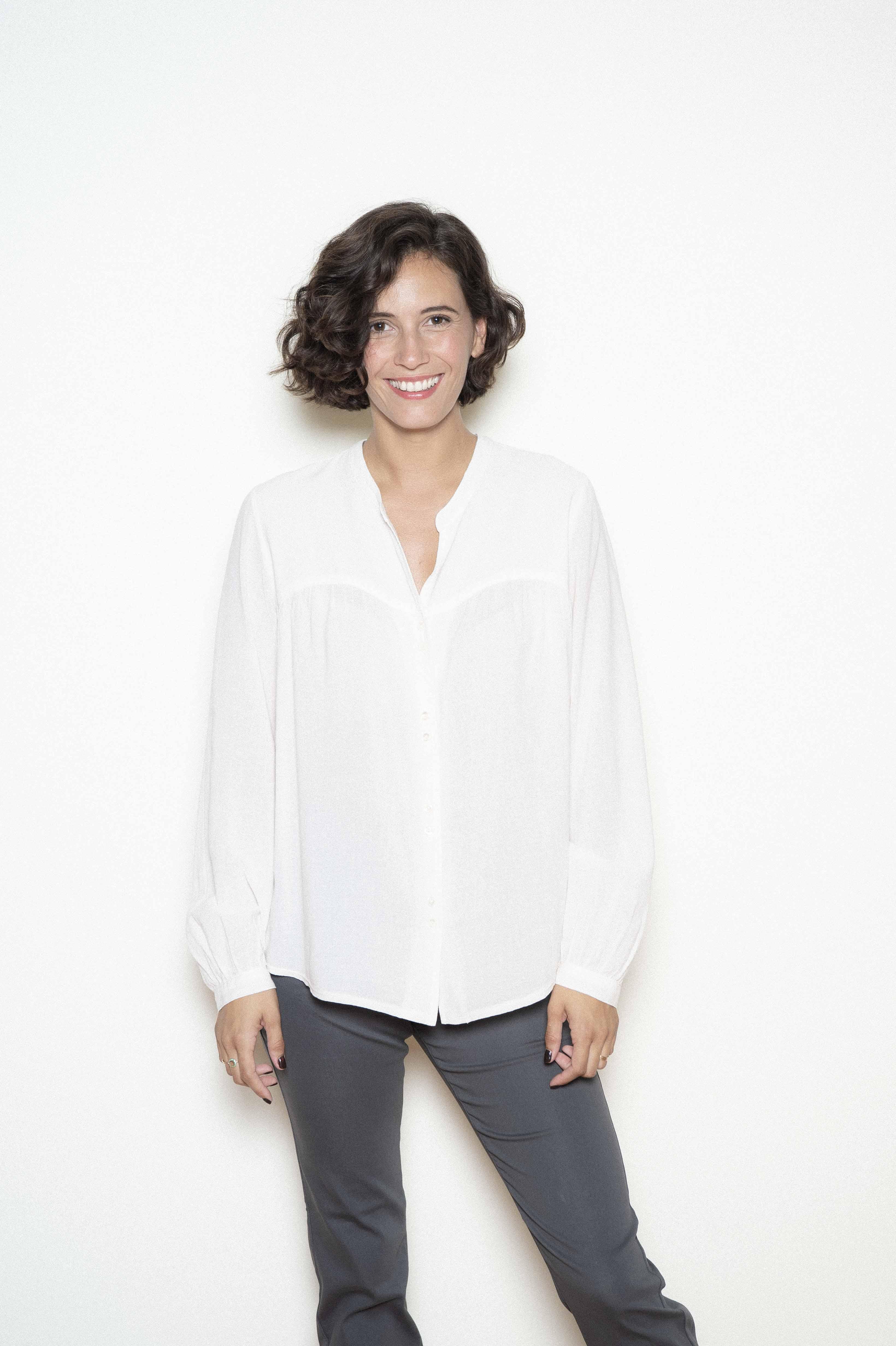 Crepe veil blouse 50% cotton 40% modal 10% wool