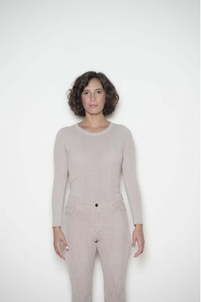 Ribbed knit long-sleeved T-shirt 85% viscose and 15% silk