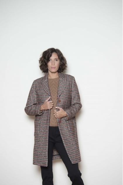 Manteau lainage à carreaux 43% coton 34% laine vierge 23% polyamide