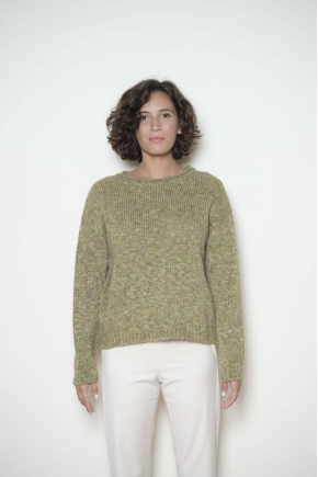 Pull court maille jersey effet tweed 46% acrylique 20% laine 17% viscose 17% polyamide