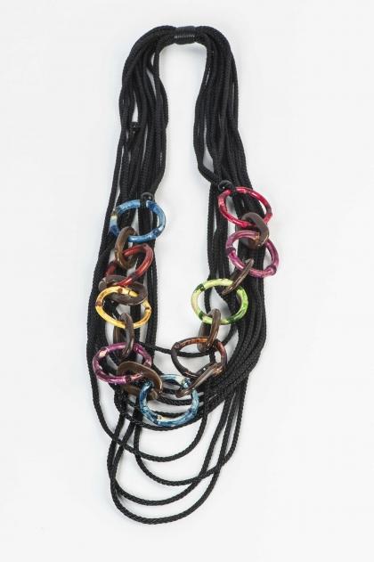 Multicolor rings necklace