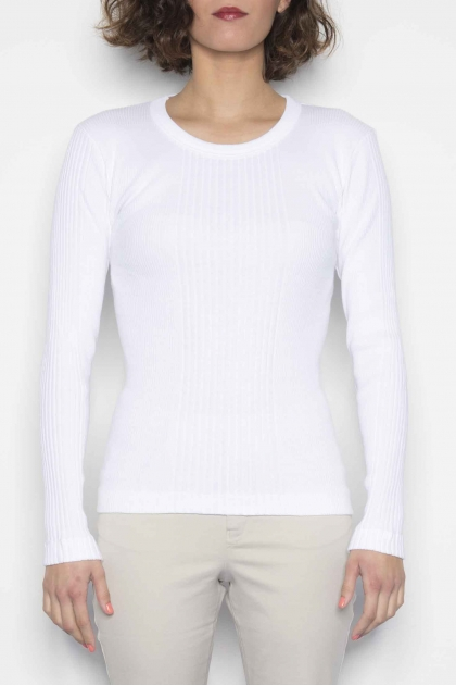 "T-shirt ""Richelieu"" ribbed knit long-sleeved 100% cotton"