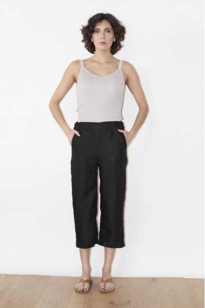 100% linen cropped trousers