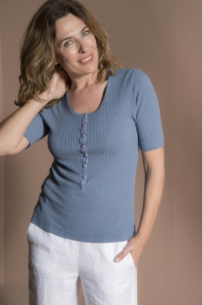 "T-shirt ""Richelieu"" knit  85% viscose 15% silk"