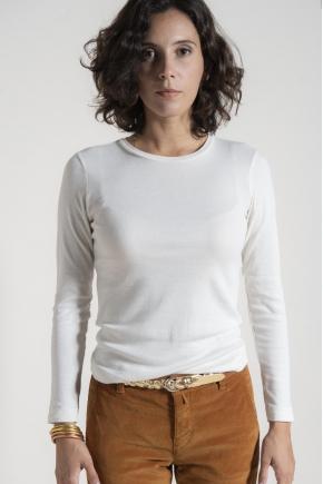 Tee shirt côte 1/1 50% coton 20% polyamide
