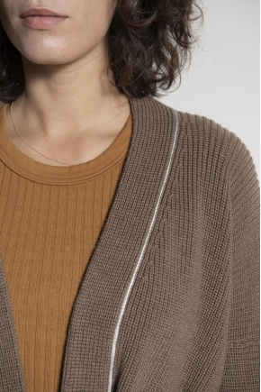 Knitted cardigan 100% extra fine merino wool