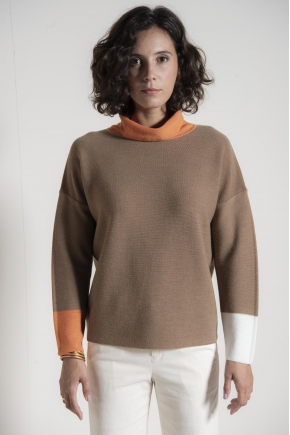 100% linen merino wool roll neck sweater