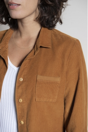 Fine ribbed velvet shirt 100% cotton
