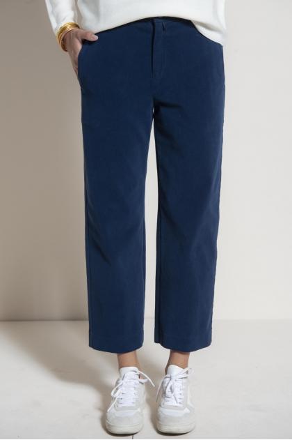 Pantalon à pont suédine 83% coton 17% élasthanne