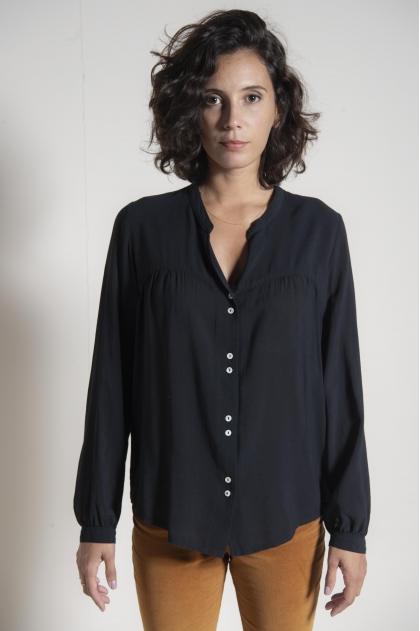 Crepe voile blouse 50% cotton 40% modal 10% wool