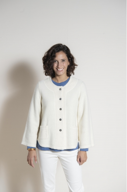 Boiled wool cardigan 64% wool 36% cotton