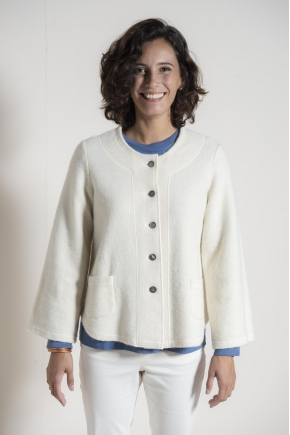 Boiled wool cardigan 64% wool 36% cotton