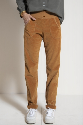 """Pantalon """"jogg"""" velours fluide côtelé 100% coton"""