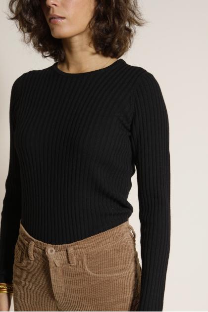 Pull ras de cou maille chaussette 100% laine mérinos extrafine