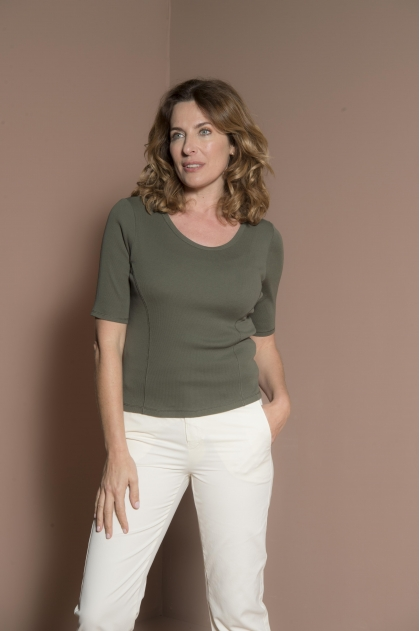 """Tee-shirt  Knitted Ribbed 2 """"brins"""" 100% Cotton"""