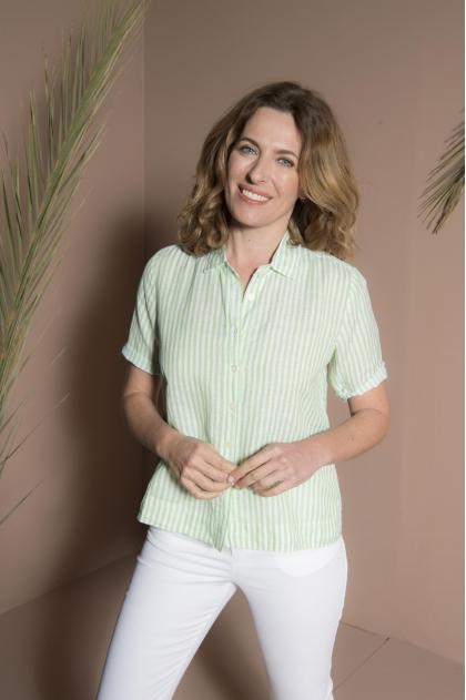 Lightweight twill striped shirt 52% cotton 48% linen