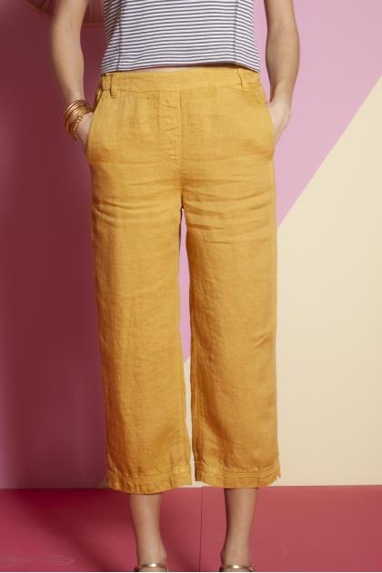 100% linen capri pants