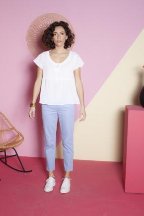Pantalon à la cheville 66% coton 31% polyamide 3% élasthanne