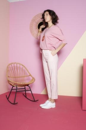 Pantalon à la cheville 67% viscose 30% coton 3% élasthanne
