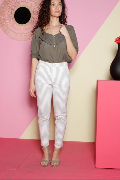 Ankle pants 67% viscose 30% cotton 3% elastane