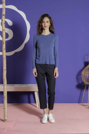 Long-sleeved t-shirt in ribbed Richelieu knit 85% viscose and 15% silk