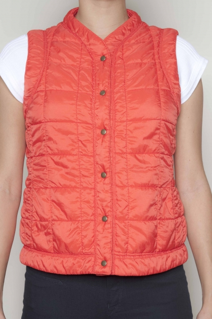Sleeveless vest snap-fastened nylon pluck 100 % polyamide