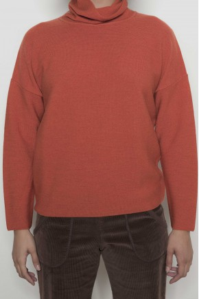 Sweater polo neck 100% new wool merino extrafine