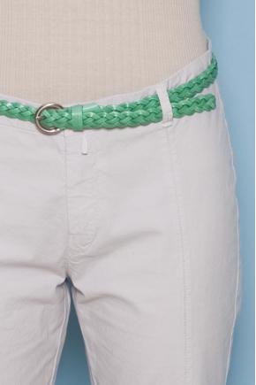 100% leather thin belt plaited